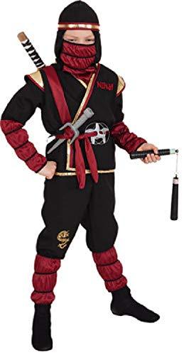 narrenkiste O5272-152-164 schwarz-rot Kinder Junge Mädchen 6 teiliges Ninja-Samurai Kostüm Gr.152-164