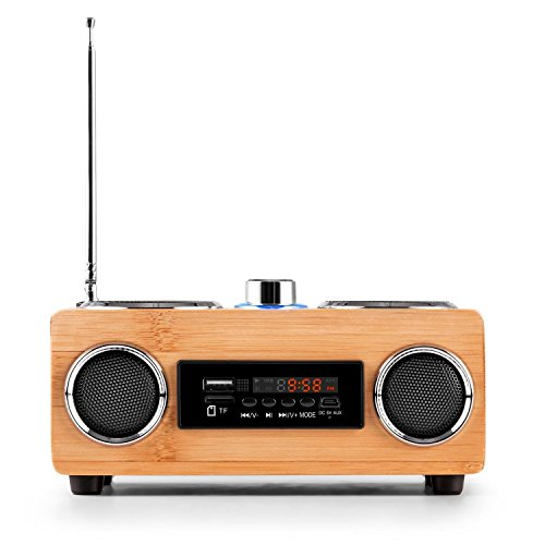 Holz Radio Bambus Fairshopping • UKW-Radiotuner • Echtholz-Gehäuse • USB-Port • SD-Slot • 30 Senderspeicherplätze • LED-Display • Breitband-Lautsprecher