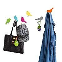 SoBuy® Set of 6 Wall Hooks in Bird Design, Wall Hangers Coat Hooks, FRG64-F