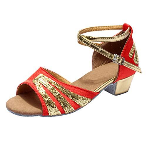 Lucky Mall Mädchen Pailletten Niedrige Absatz Offene Zehenschuhe, Kinder Sommer Sandalen Lateinische Ballett Tanzschuhe Party Schuhe Schöne Schlüpfen Schuhe