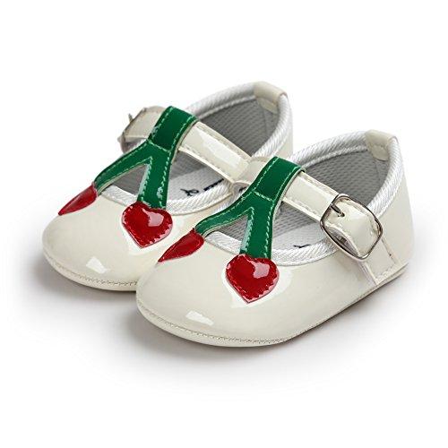 MiyaSudy 0-18 Monate Kleinkind Baby Mädchen Kirsche Pailletten Prinzessin Lauflernschuhe Weiß