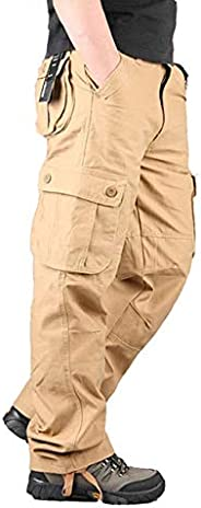 Men's Cotton Multi-Pockets Work Pants Tactical Outdoor Military Army Cargo Pants (No B