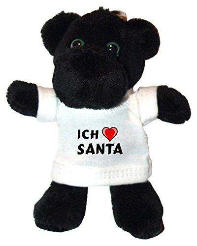 Plüsch Schwarzer Panther Schlüsselhalter mit T-shirt mit Aufschrift Ich liebe Santa (Vorname/Zuname/Spitzname) (Panthers Santa)