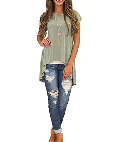 Damen Kurzarm Asymmetrisch Hem Tops Kurzarmshirt Bluse T-Shirt Longshirt Grün XL