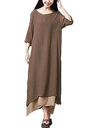 e2ba302491 OverDose elegante vestidos mujer 3 4 manga fiesta de lino de algodón  S-XXXXXL