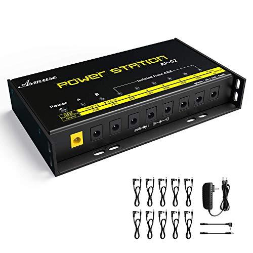 AsmuseTM 8 isoliertes Ausgänge Pedal Netzteil Kabel Geräuscharm 200mA 9V/12V/18V für E Gitarre Bass Effektpedale