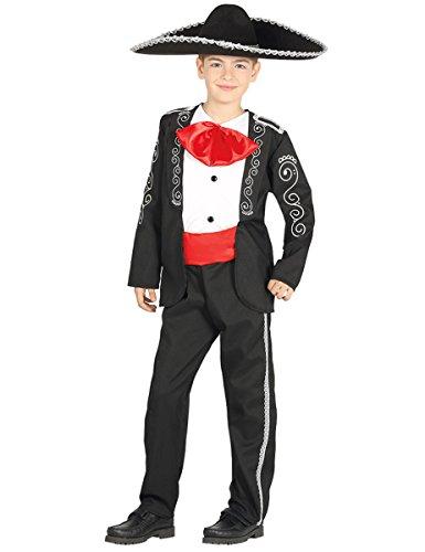 Kinderkostüm Mariachi Junge Sänger Anzug schwarz Fasching Mexikaner (3-4 Jahre) (Mariachi Kostüm Junge)
