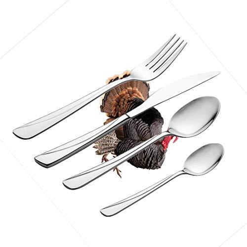 30-teiliges Besteckset, Türkei Geschirr Besteckset aus rostfreiem Stahl für 6 Personen, einschließlich Messer, Gabeln, Löffel, Teelöffel und Tischset, realistisches Vogelbild Thanksgiving Day Fami