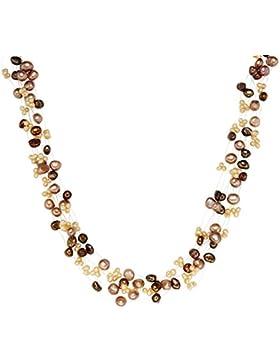 Valero Pearls Classic Collection Damen-Halskette 925 Sterlingsilber Süßwasser-Zuchtperlen barockbraun hellbraun...