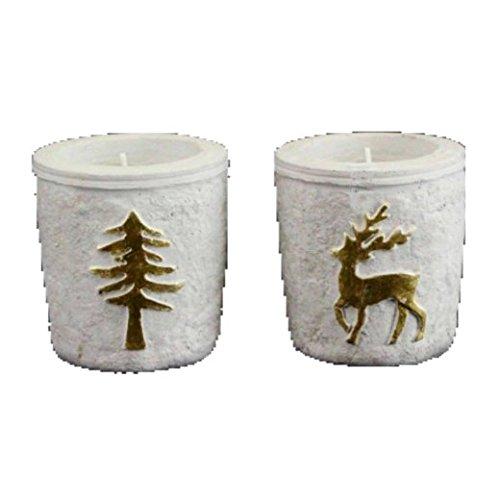 Albero di natale candela profumata: vaso di ceramica e stag glam–oro