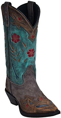 Teal Schuhe Womens (Laredo Womens Brown/Teal All Leather Miss Kate 11in Snip Toe Cowboy Boots 6.5 M)