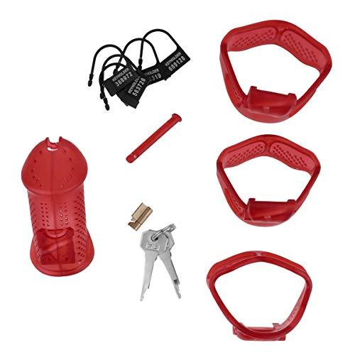 dPois Herren Keuschheitsgürtel Cock Cage Penis Käfig Sexspielzeug Peniskäfig mit Schlüssel Peniszaumzeug Keuschheitsgerät Männer Keuschheit Sexspielzeug Rot One Size - Herren-käfig