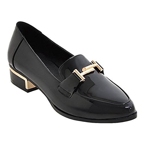 Mee Shoes Damen Niedrig Geschlossen Lackleder Pumps Schwarz