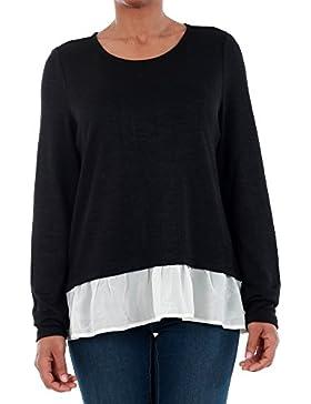 Jersey Vero Moda Mujer Negro 10193805 VMMADDIE L/S TOP SB1 BLACK/WHITE CHIF