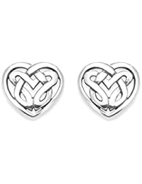 Sterling Silver Celtic Heart Earrings - Celtic Earrings - studs - SIZE: 8mm Gift Boxed. 5034.