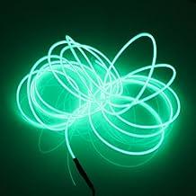Lerway 5m Flessibile EL Wire Neon LED Elettroluminescente Luce + Controllo della Batteria, per Party (Notte Bagno Luce Decor)