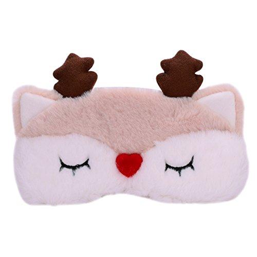 ITODA Augenmaske Weiche Schlafmaske mit Plüschtiere Hirsch Muster Nachtmaske aus Baumwolle Plüsch Karikatur Augenabdeckung Schlafbrille mit Elastischem Band Augen Maske für Flugzeug Pause Reise