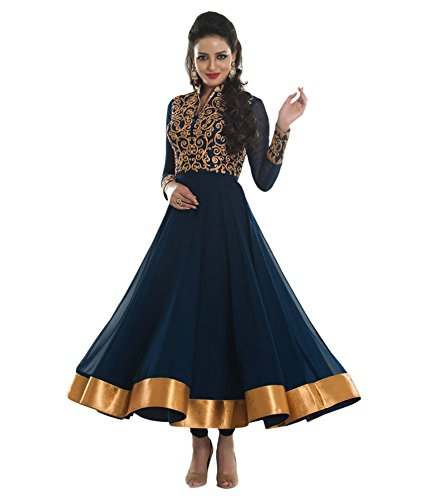 Designer Blue Colour Partywear Unstitched Dress Material With Embroidered Work MFD-15