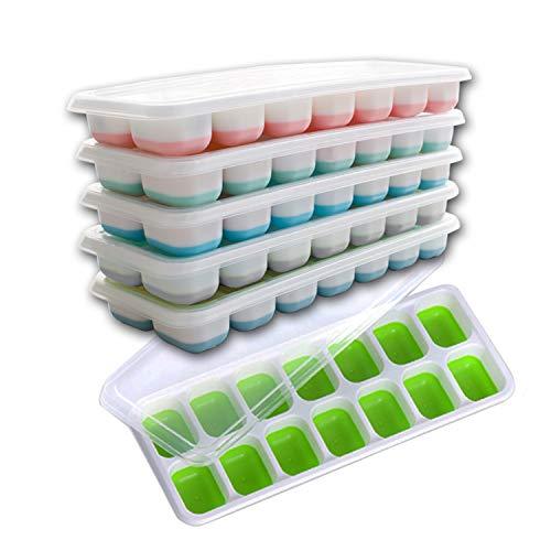 US Sense Eiswürfelform mit Deckel -Einfache Kunststoff Eiswürfelform mit 14 Blöcken (6 Stück