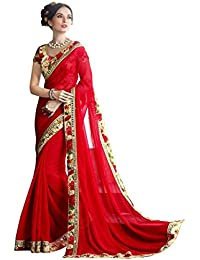 Aaradhya Fashion Women's Georgette Saree With Bhagalpuri Printed Blouse Piece (Purvi-Red-01_Red)