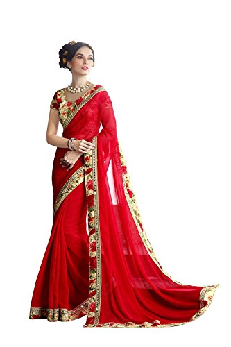 Jaanvi Fashion Wome\'s Red Georgette Saree