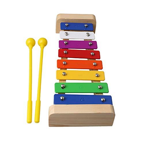 Mxfans Kinder Baby Spielzeug Spieluhr 8 Noten Holz Xylophon mit Stab