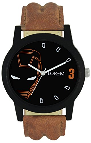 Maiya Lorem Analogue Black Color Dial Men's and Boys Causal leather Watch