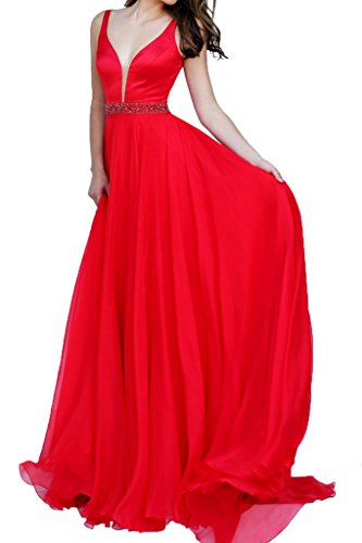 LaMarie Braut Rot Tief Vausschnitt Traegerkleider Abendkleider Partykleider  brautjungfernkleider Lang Alinie Rock Rot