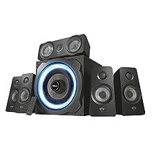 Trust Gaming GXT 658 Tytan 5.1 Surround Sound Speaker System, PC Speakers with Subwoofer, UK Plug, LED Illuminated, 180 W - Black/Blue