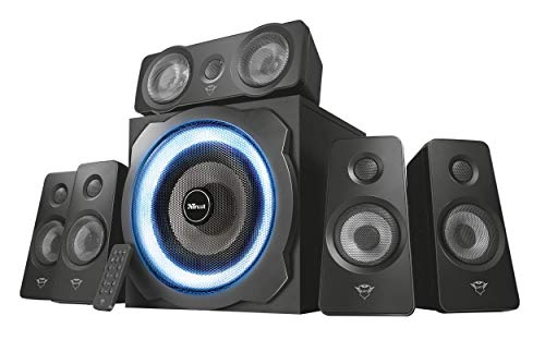 Trust Tytan Gaming GXT 658 Sistema Set di Altoparlanti Surround 5.1, con Subwoofer Illuminato LED Blu, Potenza Totale di 180 Watt, Nero - Confronta prezzi