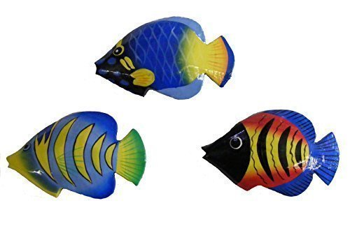Fair Trade Hand Painted Colourful Balinese Kissing Fish Fridge Magnets (Pack of 3) ()