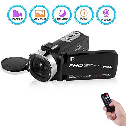 Caméscope Caméra vidéo FHD 1080P 30 FPS 30.0 MP Camescope de Vision Nocturne Vlogging Zoom numérique 16X Sortie HDMI avec télécommand