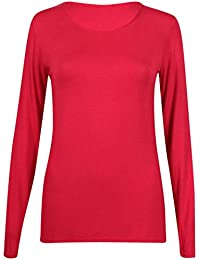 New Ladies Plain Stretch Fit Long Sleeve Womens T-Shirt Round Neck Basic Top Red Size 8 - 10
