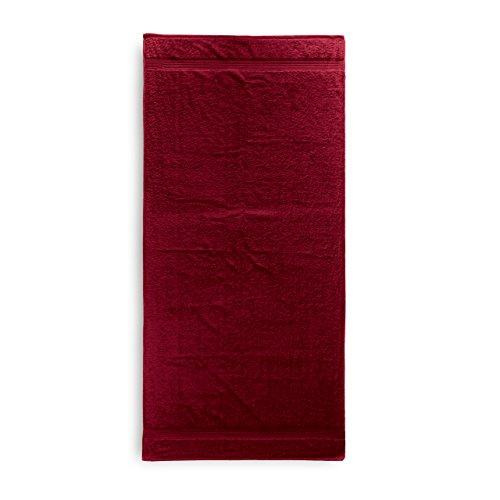 Lumaland Premium Saunatuch 90 x 200 cm 100 % Baumwolle 550 g/m² komfortables Handtuch für Damen und Herren kirsch