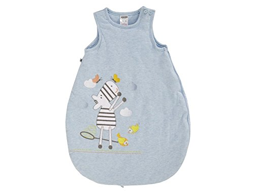 JACKY Baby Jungen Babyschlafsack Bettwäsche Blau mit Zebra-Stickerei (62/68, Blau)