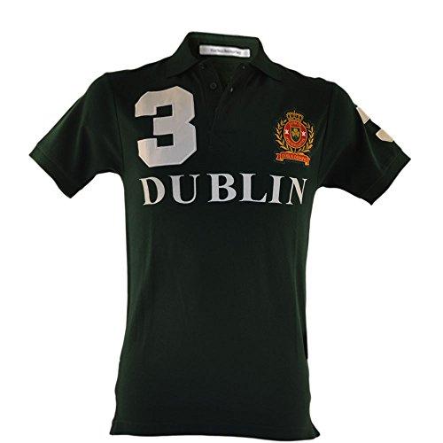 Polo Hemd mit 3 Ireland Druck und Wappen verziert, waldgrün Green