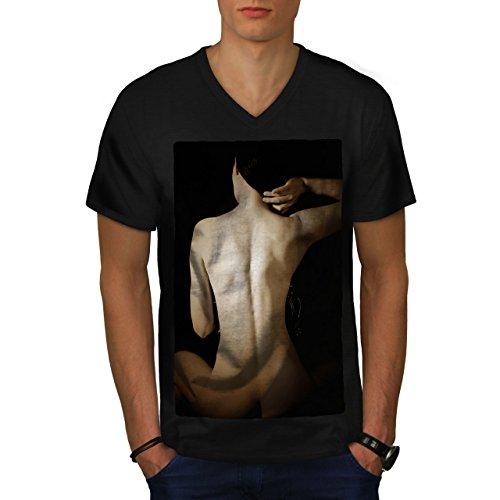 Wellcoda Nude Girl Erotic Sexy Mens V-Neck T-Shirt, Erotica Graphic Design Tee
