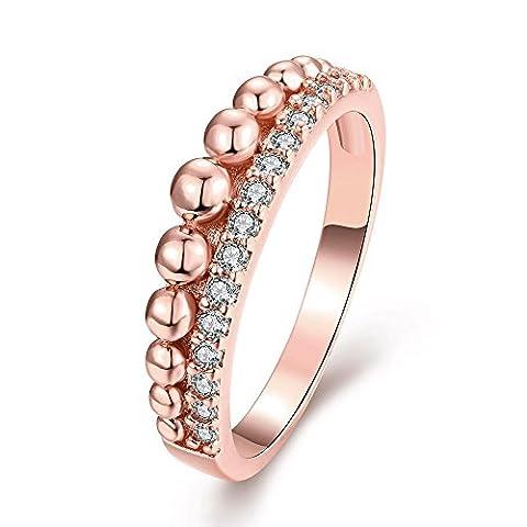 Luminous Hochwertige Nickel Frei Antiallergische Mode - Schmuck Weiß - Zirkon - Ring ,Rose vergoldet,7