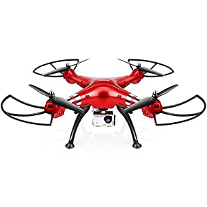Syma X8HG Remote Controlled RC Quadrocopter Drone with 8MP HD Camera Headless Height Hold Red by DoDoeleph