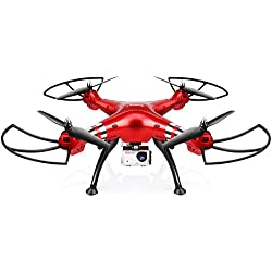 Drone con Camara Profesional HD de 8.0MP SYMA X8HG 1080P Cuadricoptero 2.4GHz Control Remoto Drone con Alta Altitud, Modo sin cabeza y 360 Grados (Rojo)