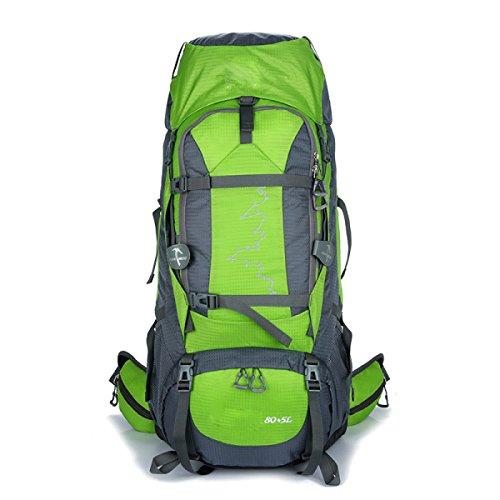 Outdoor Bergsteigen Tasche 80 + 5 Liter Männer Und Frauen Sport Große Kapazität Wasserdichte Camping Rucksack,Black Green