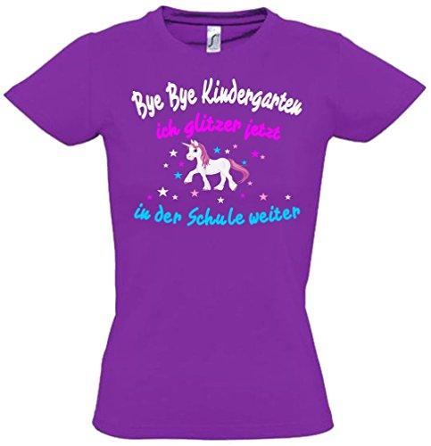 Coole-Fun-T-Shirts Bye Bye Kindergarten Ich Glitzer Jetzt in der Schule Weiter. - Einhorn Sterne Lila, Gr.116cm