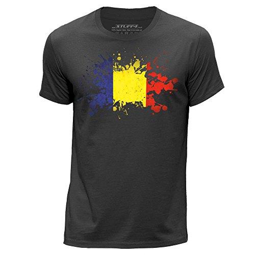 STUFF4 Herren/Klein (S)/Dunkelgrau/Rundhals T-Shirt/Tschad Flagge Splat (T-shirt Chad Flag)