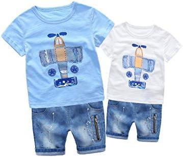 Conjunto de Dos Piezas Bebé Niños de Verano Camisetas y Pantalones Vaqueros corto Cremallera Guapo