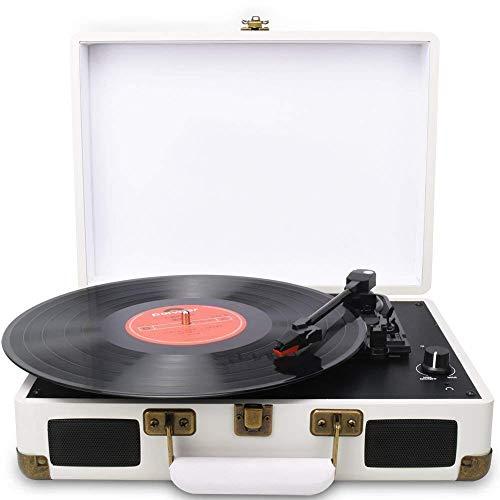 DIGITNOW! Portatile Giradischi a 3 velocità, Stile Retro a Vinyl Giradischi Valigetta con Altoparlante Stereo, Supporta Uscita USB/Jack per Cuffie/Convertire Il Vinile in MP3