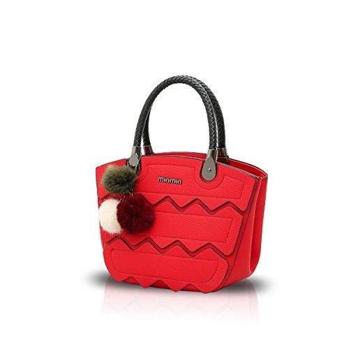 NICOLE&DORIS Nuovo Crossbody Moda Borsa Cartella Alla Spalla Messenger Casual Bag di PU Soft Donne Grigio Rosso