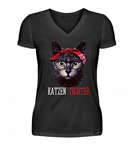 Hochwertiges V-Neck Damenshirt - Katzen Tochter Lustiges Vintage Mieze Kätzchen mit Bandana T-Shirt Geschenk Damen (Bandana Kitty)
