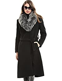 Escalier Mujer Largo Abrigo Invierno Real Lana Pelaje Collar Calentar Capa