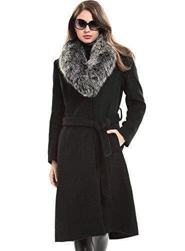 Escalier Donne inverno lana cappotto montgomery con vera pelliccia di volpe bavero del cappotto