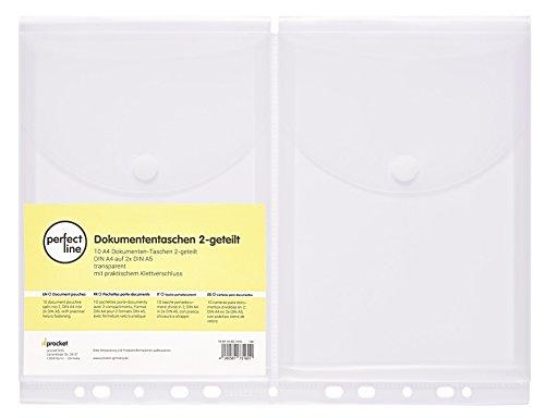 perfect line 10 Dokumenten-Taschen DIN A5 auf A4, Füllhöhe 20 mm, Klarsicht-Hüllen klar & transparent, Prospekt-Hülle mit Klappe, Klettverschluss & Abheftrand, Sammel-Folie auf 2 Fächer geteilt